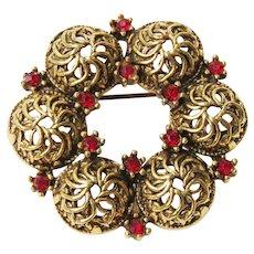 Vintage Red Rhinestone Gold Tone Wreath Brooch Pin