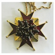 Vintage Coptic Cross With Red Rhinestones Necklace/Brooch