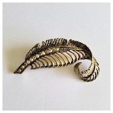 Vintage Aurora Borealis Rhinestone Feather Brooch/Pin