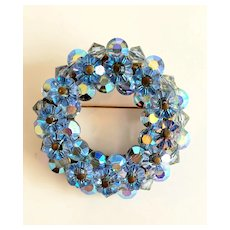 Vintage Aqua Crystals And Aurora Borealis Rhinestone Wreath Brooch/Pin