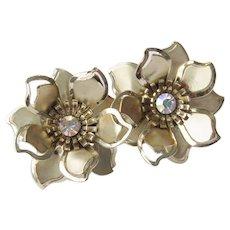 Vintage Gold Tone Flower Clip-On Earrings