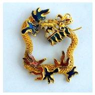 Vintage Dragon Enamel And Goldtone Pendant