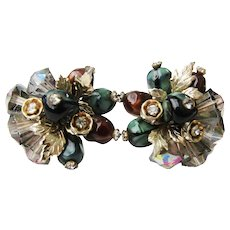 Vintage Vendome Glass Beads And Rhinestones Clip On Earrings