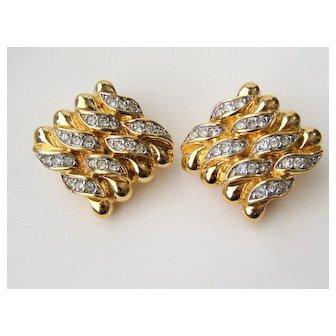 Vintage Nina Ricci Gold Tone Rhinestone Earrings