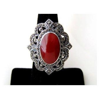Vintage Sterling Silver Art Deco Carnelian Marcasites Ring
