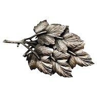 Vintage Silvertone Leaf Brooch