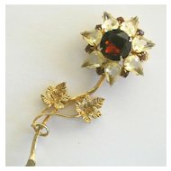 Vintage Rhinestone Flower Brooch/Pin