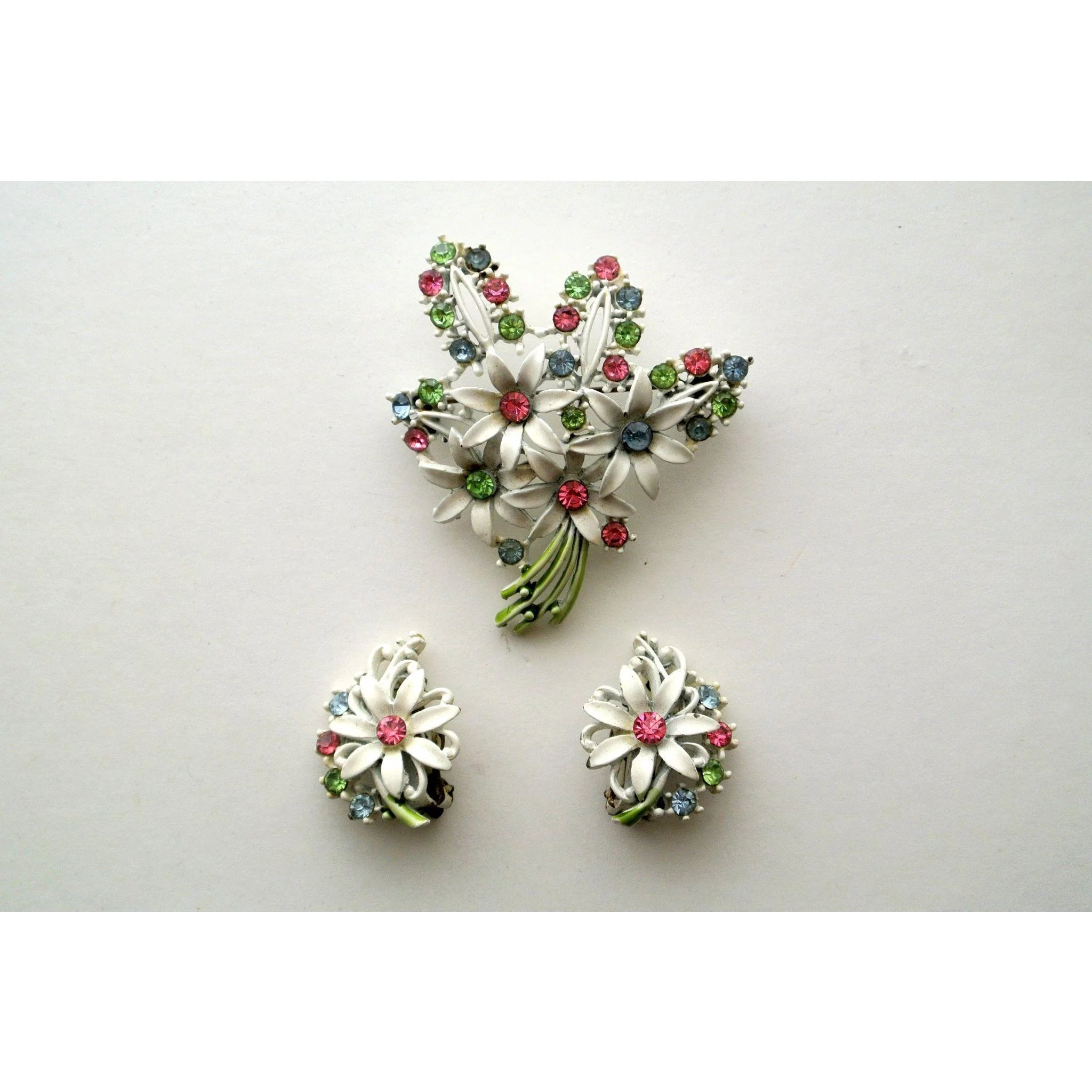 Vintage Enamel Flower Bouquet Rhinestones Pin Brooch And Earring Set