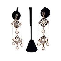 Vintage Gold Tone Filigree Crystal Dangling Earrings
