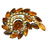 Vintage Dark And Light Topaz Rhinestone Spiral Brooch