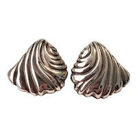Vintage Swirled Sterling Silver Pierced Earrings