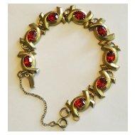 Vintage Red Rhinestones Bracelet