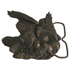 "Solid Brass ""Bergamot Brass Works 1974"" Eagle And Bunny Belt Buckle"