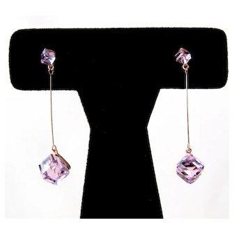 Vintage Pink Crystal Cube Dangling Earrings