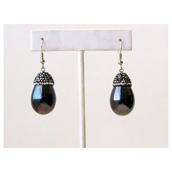 Vintage Rhinestones Iridescent Drop Pierced Earrings