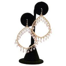 Vintage Pink Beaded Pierced Earrings