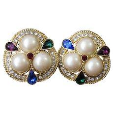Vintage Faux Pearls Colorful Rhinestones Clip On Earrings