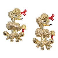 Vintage Pair Of Fancy French Poodle Brooches/Pins