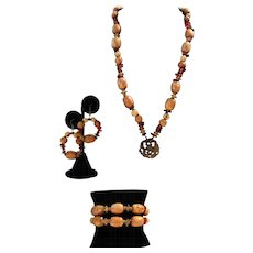 Artisan Handmade Jade, Amber And Wood Necklace, Bracelet And Earring Set