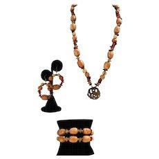 Artisan Handmade Jade, Amber And Wood Necklace, Bracelet And Earring Set