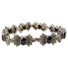Vintage Art Deco Black Onyx Sterling Silver Marcasite Bracelet