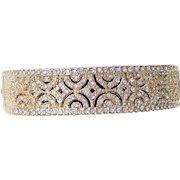 Vintage Rhinestone Pave' Gold Tone Bangle Bracelet