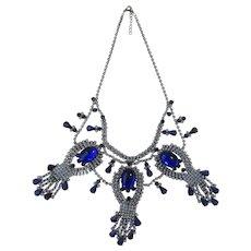 Vintage Czech Cobalt Blue Rhinestone Bib Necklace