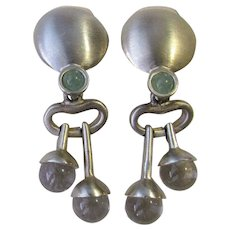 Vintage Modernist Glass And Metal Clip-On Earrings