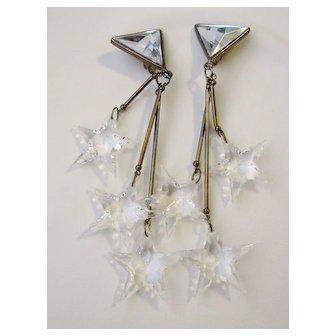 Vintage Clear Plastic Stars Shoulder Duster Clip On Earrings