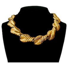 Vintage Ann Klein Golden Lined Necklace