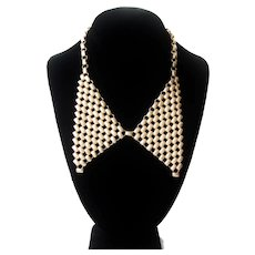 Vintage Gold tone Metal Bow Necklace