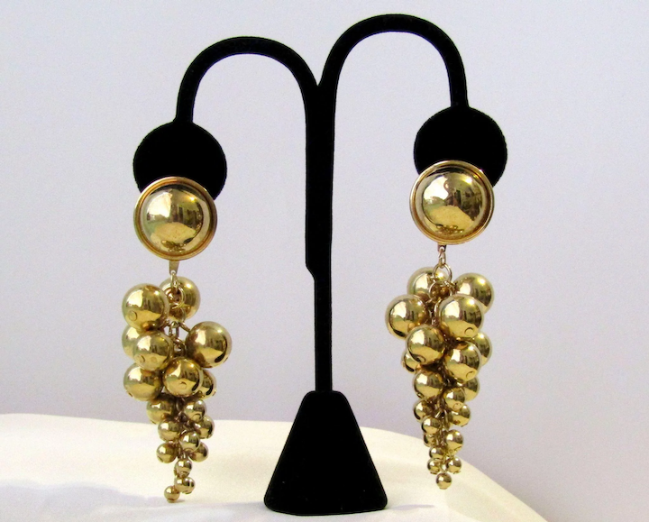 45063a43a Vintage Cascade Golden Balls Earrings : Vintage Objects | Ruby Lane