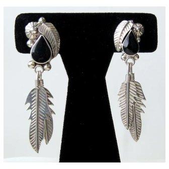 Vintage Sterling Silver Black Onyx Mexico Pierced Earrings