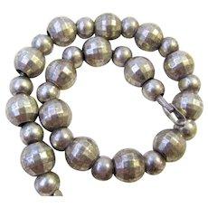 Vintage Faceted Sterling Silver Beads Bracelet