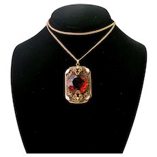 Vintage Czechoslovakian Glass Enamel Filigree Necklace