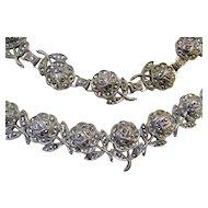 Vintage KD Sterling Silver And Marcasites Set Necklace And Bracelet Demi Parure