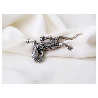 Vintage Sterling Silver Lizard Brooch Pin