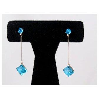 Vintage Aqua Crystal Cube Dangling Earrings
