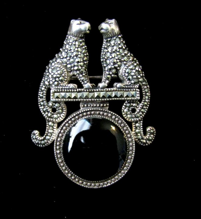 Vintage & Antique Jewelry Glorious Vintage Art Deco Marcasite Brooch Pin