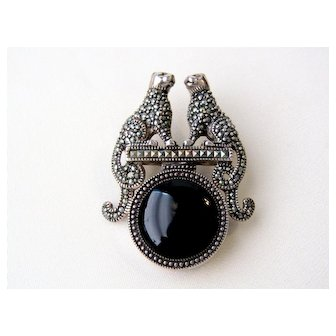 Vintage Art Deco Panthers Marcasites Sterling Silver Black Glass Brooch Pin