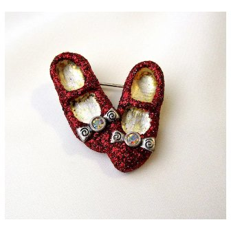 Vintage Glittered Red Shoes Brooch Pin