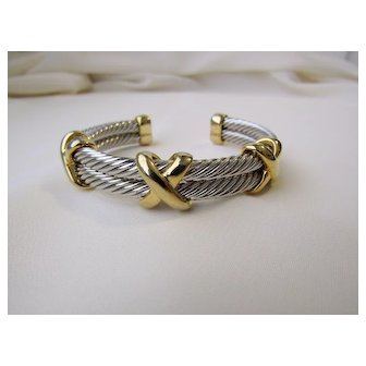 """Vintage Silver Tone Twisted Coils And Gold Tone """"X's"""" Bracelet"""