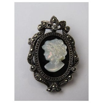 Vintage Sterling Silver Mother Of Pearl Cameo Marcasite Brooch Pin Pendant