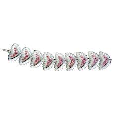 Vintage Pink Rhinestones Silvery-White Enamel Bracelet