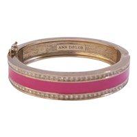 Vintage Ann Taylor Pink Enamel Rhinestones Clamper Bracelet