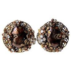Vintage Bronze Faux Pearls Rhinestones Filigree Clip On Earrings