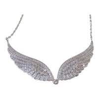 Vintage Micro Pave Sterling Silver Cubic Zirconia Wings Necklace