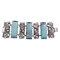 Vintage Molded Silver Tone Flowers Aqua Acrylic Bars Bracelet