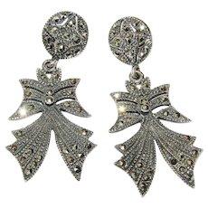 Vintage Sterling Silver Marcasites Bow Pierced Earrings