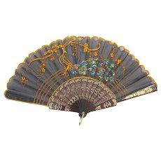 Vintage Black Sheer Peacock Hand Held Fan